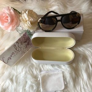 Chloe brown and gold sunglasses, case, box